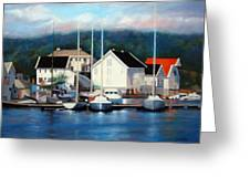 Farsund Dock Scene Painting Greeting Card by Janet King