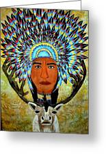 Feathers And Antlers Greeting Card by Linda Egland