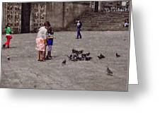 Feeding Pigeons In Santiago De Compostela Greeting Card by Mary Machare