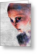 Female Alien Portrait Greeting Card by Bob Orsillo