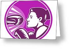 Female Boxer Punch Retro Greeting Card by Aloysius Patrimonio