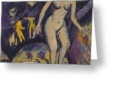 Female Nude with Hot Tub Greeting Card by Ernst Ludwig Kirchner