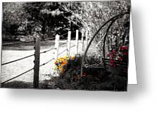 Fence Near The Garden Greeting Card by Julie Hamilton