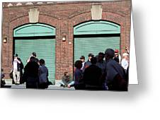 Fenway Park - Fans And Locked Gate Greeting Card by Frank Romeo