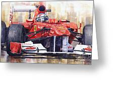 Ferrari 150 Italia Fernando Alonso F1 2011  Greeting Card by Yuriy  Shevchuk