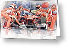 Ferrari F 2012 Fernando Alonso Pit Stop Greeting Card by Yuriy  Shevchuk