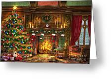 Festive Fireplace Greeting Card by Dominic Davison