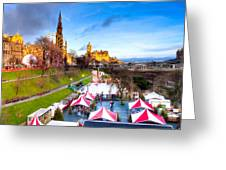 Festive Princes Street Gardens - Edinburgh Greeting Card by Mark E Tisdale