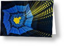 Field Of Force - Yellow Blue And Black Abstract Fractal Art Greeting Card by Matthias Hauser