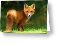 Fiery Fox Greeting Card by Christina Rollo