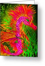 Fiery Sea Horse Greeting Card by Adria Trail