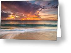 Fiery Skies Azure Waters Rendezvous Greeting Card by Photography  By Sai