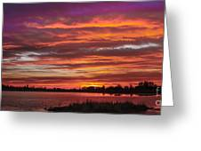 Fiery Sunset Greeting Card by Robert Bales