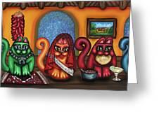 Fiesta Cats Or Gatos De Santa Fe Greeting Card by Victoria De Almeida