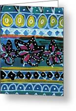 Fiesta In Blues- Abstract Pattern Painting Greeting Card by Linda Woods