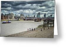 Film Crew On The Thames - London Back-drop Greeting Card by Kim Andelkovic