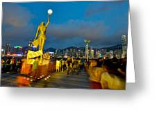 Film Statue At Avenue Of Stars Greeting Card by Hisao Mogi