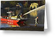 Fire Boat Greeting Card by Susan Leggett