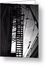 Fire Escape And Wires Greeting Card by Bob Orsillo