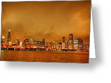 Fire In A Chicago Night Sky Greeting Card by Ken Smith