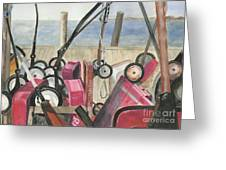Fire Island Wagon Parking Greeting Card by Sheryl Heatherly Hawkins