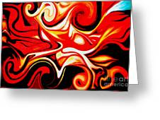 Fire Of Love - Abstract Oil Painting Original Modern Contemporary Art House Wall Deco Greeting Card by Emma Lambert