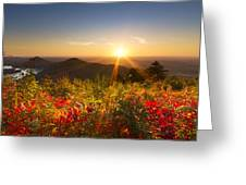 Fire on the Mountain Greeting Card by Debra and Dave Vanderlaan