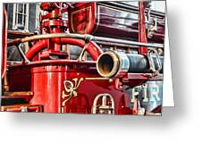 Fireman - Antique Brass Fire Hose Greeting Card by Paul Ward