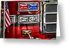 Fireman - Fire Engine Greeting Card by Paul Ward