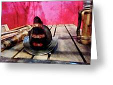 Fireman - Fire Helmet In Fire Truck Greeting Card by Susan Savad