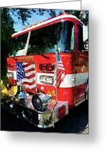 Fireman - Front Of Fire Engine Greeting Card by Susan Savad