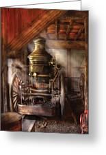 Fireman - Steam Powered Water Pump Greeting Card by Mike Savad