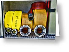 Fireman - The Fire Hose Greeting Card by Paul Ward