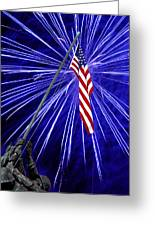 Fireworks At Iwo Jima Memorial Greeting Card by Francesa Miller