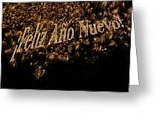 Fireworks Feliz Ano Nuevo In Elegant Gold And Black Greeting Card by Marianne Campolongo
