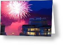 Fireworks In The City Greeting Card by Nancy Harrison