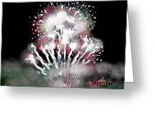 Fireworks On High School Hill Greeting Card by Jean Pacheco Ravinski