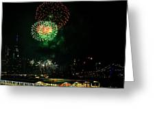 Fireworks Over Brooklyn Bridge And New York City Greeting Card by Diane Lent