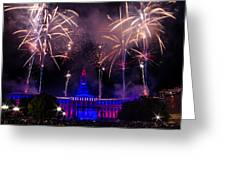 Fireworks Over Denver City and County Building Greeting Card by Teri Virbickis