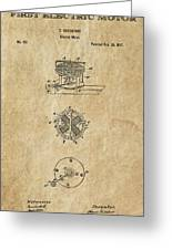 First Electric Motor 3 Patent Art 1837 Greeting Card by Daniel Hagerman