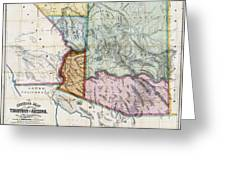 First Map Of Arizona Territory  1865 Greeting Card by Daniel Hagerman