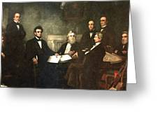 First Reading Of The Emancipation Proclamation Of President Lincoln Greeting Card by Georgia Fowler