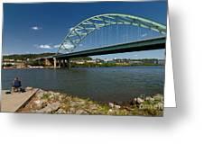 Fisherman At Birmingham Bridge Pittsburgh Pennsylvania Greeting Card by Amy Cicconi
