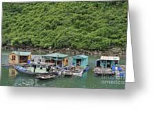 Fisherman Floatting Houses Greeting Card by Sami Sarkis