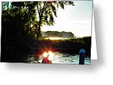 Fisherman In Sunfire Greeting Card by Judy Via-Wolff
