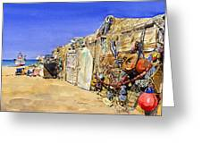 Fishermen's Huts At San Miguel Greeting Card by Margaret Merry