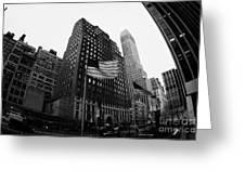 Fisheye View Of 34th Street From 1 Penn Plaza New York City Greeting Card by Joe Fox