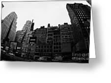 Fisheye View Of 34th Street From 1 Penn Plaza New York City Usa Greeting Card by Joe Fox