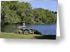 Fishing At Ponce De Leon Springs Fl Greeting Card by Christine Till