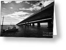 Fishing Boat Beneath New Seven Mile Bridge In Marathon In The Florida Keys Greeting Card by Joe Fox